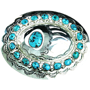 Navajo Sterling and Kingman Turquoise Nugget Belt Buckle