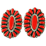Coral Petit-Point Post Earrings