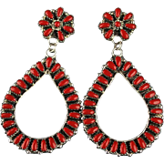 Extra Long Petit-Point Coral Earrings