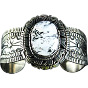 Outstanding Navajo Sterling and White Buffalo Bracelet