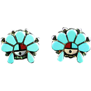 Zuni Inlay Headdress Earrings