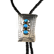 Vintage Navajo Turquoise and Sterling Bolo