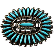 Ladies Turquoise Needlepoint Belt Buckle