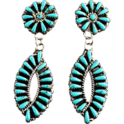 Double Dangle Navajo Turquoise and Sterling Earrings