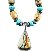 White Fox Creation: Boulder Turquoise Pendent with Faceted Agate and Turquoise