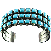 Navajo Square Cut Turquoise and Sterling Bracelet