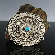 Sterling and Turquoise Belt Buckle by Navajo Artist Harris Joe