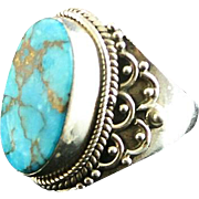 Basalt Mine Turquoise and Sterling Ring