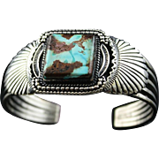 Stunning Navajo Sterling and Turquoise Bracelet by Joe Piaso Jr.