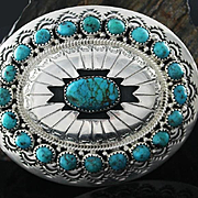 Turquoise and Sterling Belt Buckle by Wilbur Musket