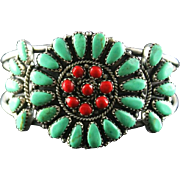 Striking Soft Green Turquoise and Coral Bracelet