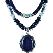 White Fox Collection of Lapis and Creamy Blue Larimar.