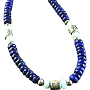 Chunky Lapis and Larimar Necklace