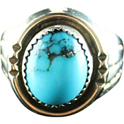 Turquoise and Sterling Ring by Navajo Artist Herbert Tsosie