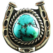 Sterling and Turquoise Horseshoe Ring by Navajo Artist Joe Moquino