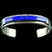 Lapis Inlay Bracelet by Fran Yazzi