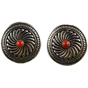 Navajo Sterling and Coral Earrings