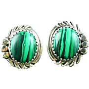 Navajo Malachite and Sterling Button Earrings