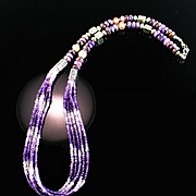 5 Strand Tri-Color Amethyst & Charoite Necklace