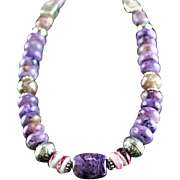 White Fox Creation: Beautiful Charoite and Amethyst Necklace
