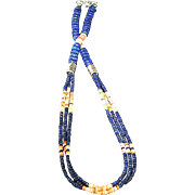 White Fox Creation: Long Lapis and Golden Spiny Oyster Necklace