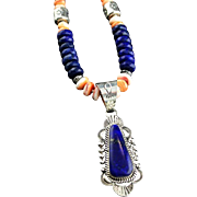 White Fox Creation: Lapis and Golden Spiny Oyster Pendent Necklace