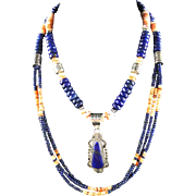 White Fox Creation: Long Lapis and Golden Spiny Oyster Necklace Set