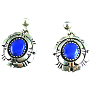 Lapis and Sterling Earring by Navajo Artist Adam and Rita Teller