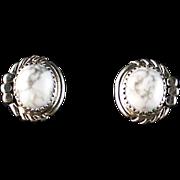 White Buffalo Button Earrings