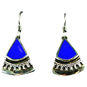 Sterling and Lapis Dangle Earrings