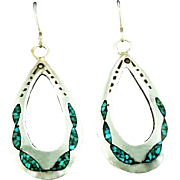 Sterling and Turquoise Chip Inlay Earrings