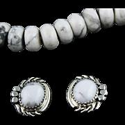 Navajo White Buffalo Button Earrings
