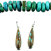 Navajo Sterling and Boulder Turquoise Earrings