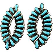 Graceful Turquoise Earrings By Navajo Artist Tom Billy
