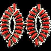 Graceful Coral Earrings By Navajo Artist Tom Billy