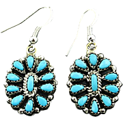 Multi-Stone Turquoise and Sterling Earrings