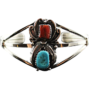 Navajo Turquoise and Coral Bracelet