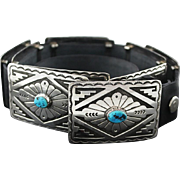 Gorgeous Turquoise and Sterling Concho Belt