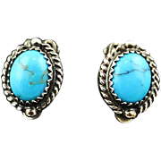 Navajo Sterling and Turquoise Button Earrings