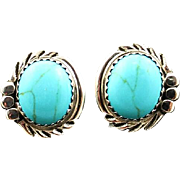 Navajo Button Sterling and Turquoise Earrings