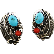 Navajo Turquoise and Coral Feather Earrings