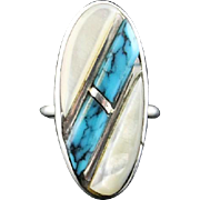 Rolled Turquoise and Mother of Pearl Ring