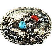 Ladies Navajo Sterling and Gold Fill Belt Buckle