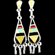 Extra Long Zuni Inlay Earrings