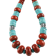 White Fox Creation: Turquoise and Coral Necklace