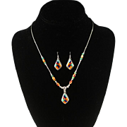 Turquoise and Spiny Oyster Necklace and Earring Set