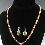 White Fox Creation: Spiny Oyster and Inlay Necklace and Earring Set