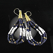 White Fox Creation: Lapis and Howlite Earrings