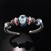 Floral Jewels: Sterling and Lampwork Bead Bracelet