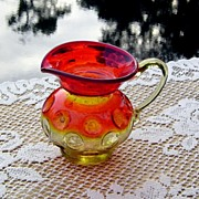 Amberina Pitcher in Inverted Thumbprint